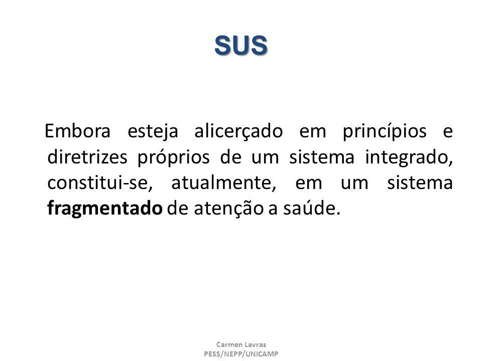 Carmen Lavras PESS/NEPP/UNICAMP SUS Embora esteja alicerçado em princípios e diretrizes próprios de um sistema integrado, constitui-se, atualmente, em