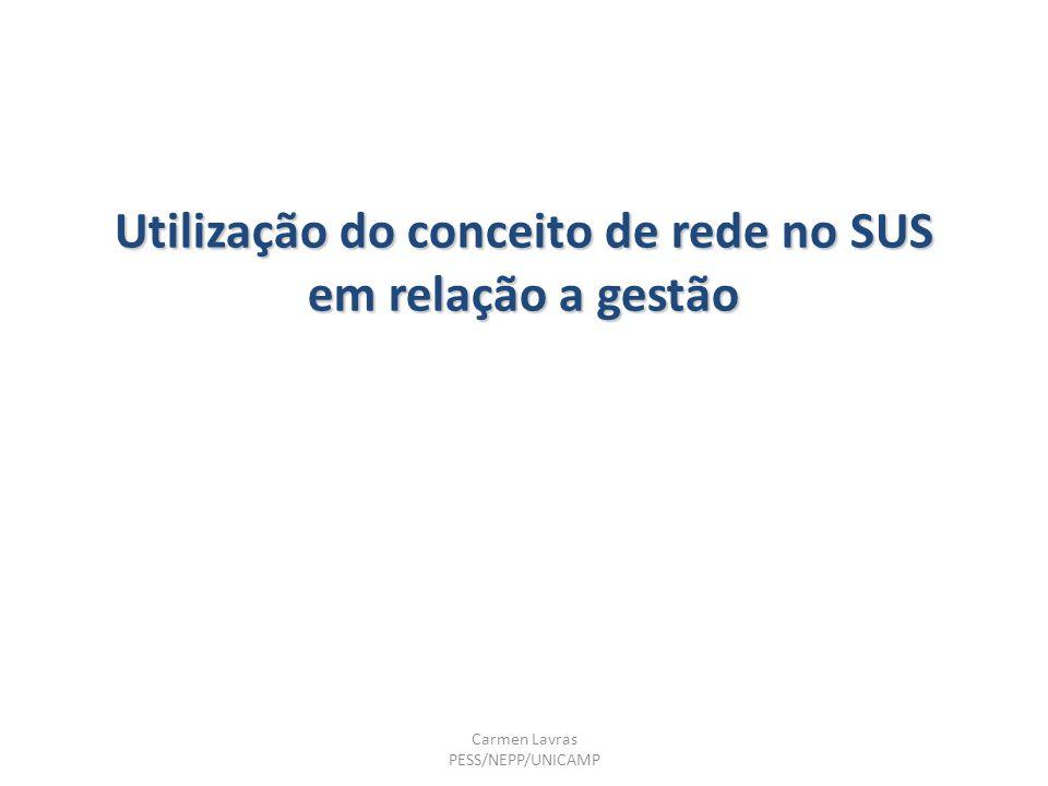 Utilização do conceito de rede no SUS em relação a gestão Carmen Lavras PESS/NEPP/UNICAMP