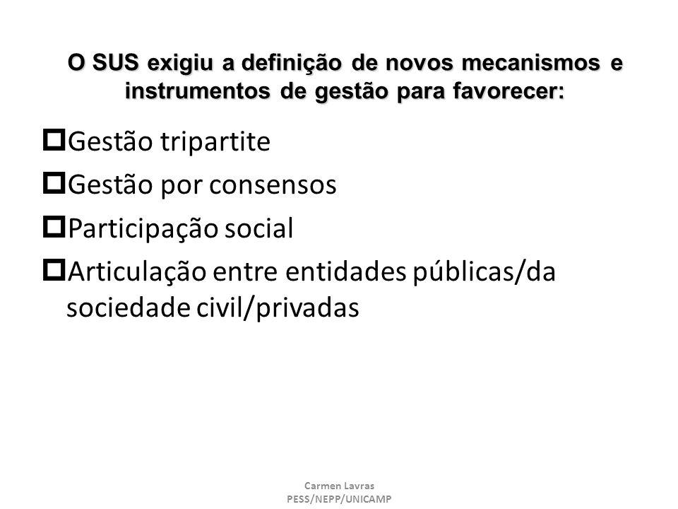 Carmen Lavras PESS/NEPP/UNICAMP O SUS exigiu a definição de novos mecanismos e instrumentos de gestão para favorecer: Gestão tripartite Gestão por con