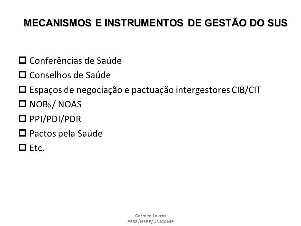 Carmen Lavras PESS/NEPP/UNICAMP MECANISMOS E INSTRUMENTOS DE GESTÃO DO SUS Conferências de Saúde Conselhos de Saúde Espaços de negociação e pactuação