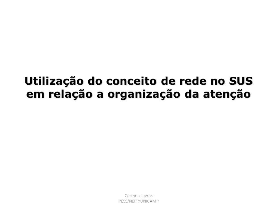 Utilização do conceito de rede no SUS em relação a organização da atenção Carmen Lavras PESS/NEPP/UNICAMP