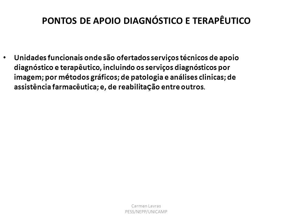 Carmen Lavras PESS/NEPP/UNICAMP PONTOS DE APOIO DIAGNÓSTICO E TERAPÊUTICO Unidades funcionais onde são ofertados serviços técnicos de apoio diagnóstic