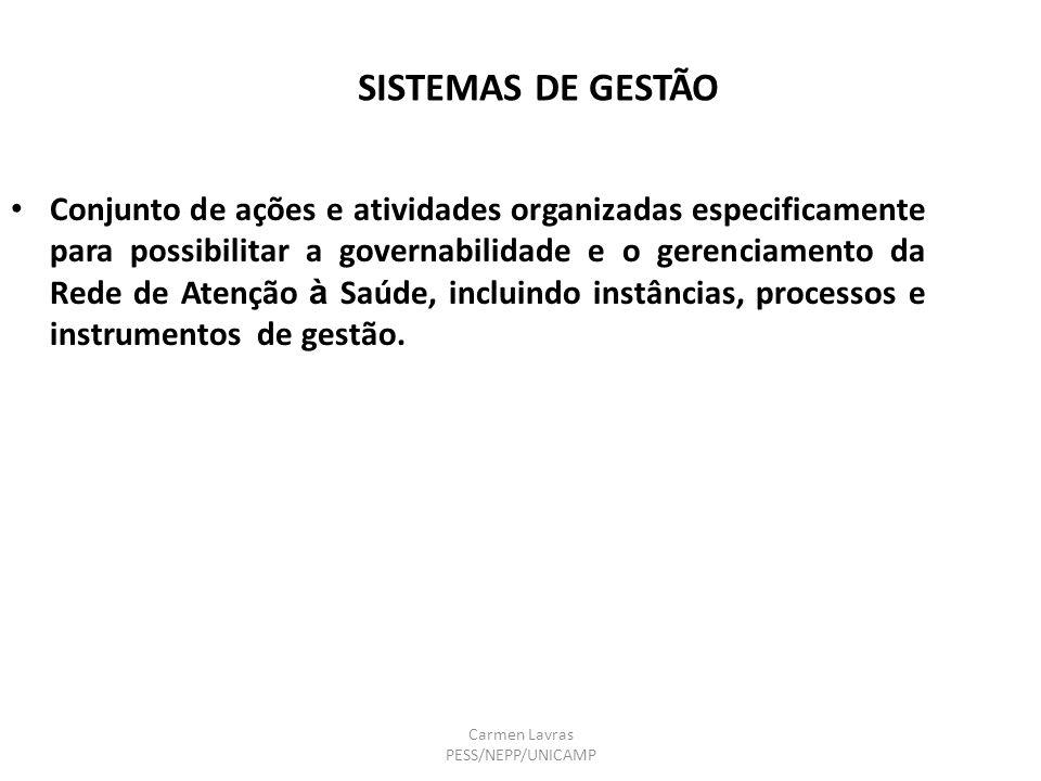 Carmen Lavras PESS/NEPP/UNICAMP SISTEMAS DE GESTÃO Conjunto de ações e atividades organizadas especificamente para possibilitar a governabilidade e o