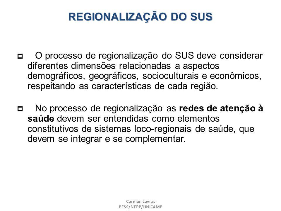 Carmen Lavras PESS/NEPP/UNICAMP REGIONALIZAÇÃO DO SUS O processo de regionalização do SUS deve considerar diferentes dimensões relacionadas a aspectos