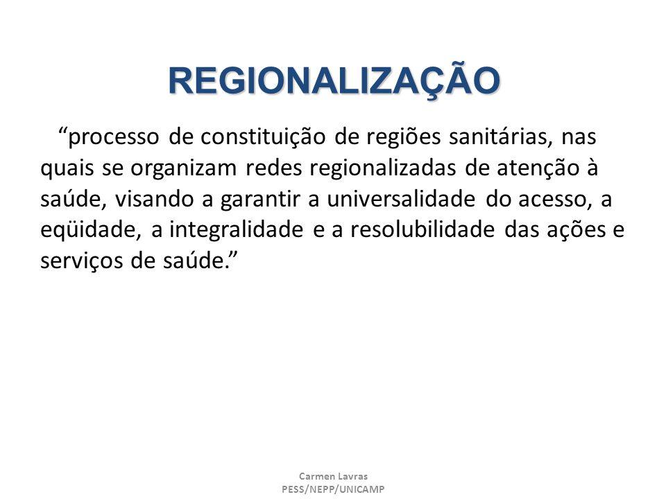 Carmen Lavras PESS/NEPP/UNICAMP REGIONALIZAÇÃO processo de constituição de regiões sanitárias, nas quais se organizam redes regionalizadas de atenção