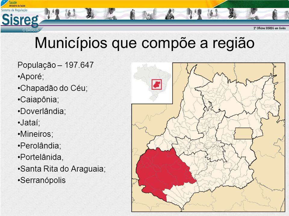 Municípios que compõe a região População – 197.647 Aporé; Chapadão do Céu; Caiapônia; Doverlândia; Jataí; Mineiros; Perolândia; Portelânida, Santa Rita do Araguaia; Serranópolis