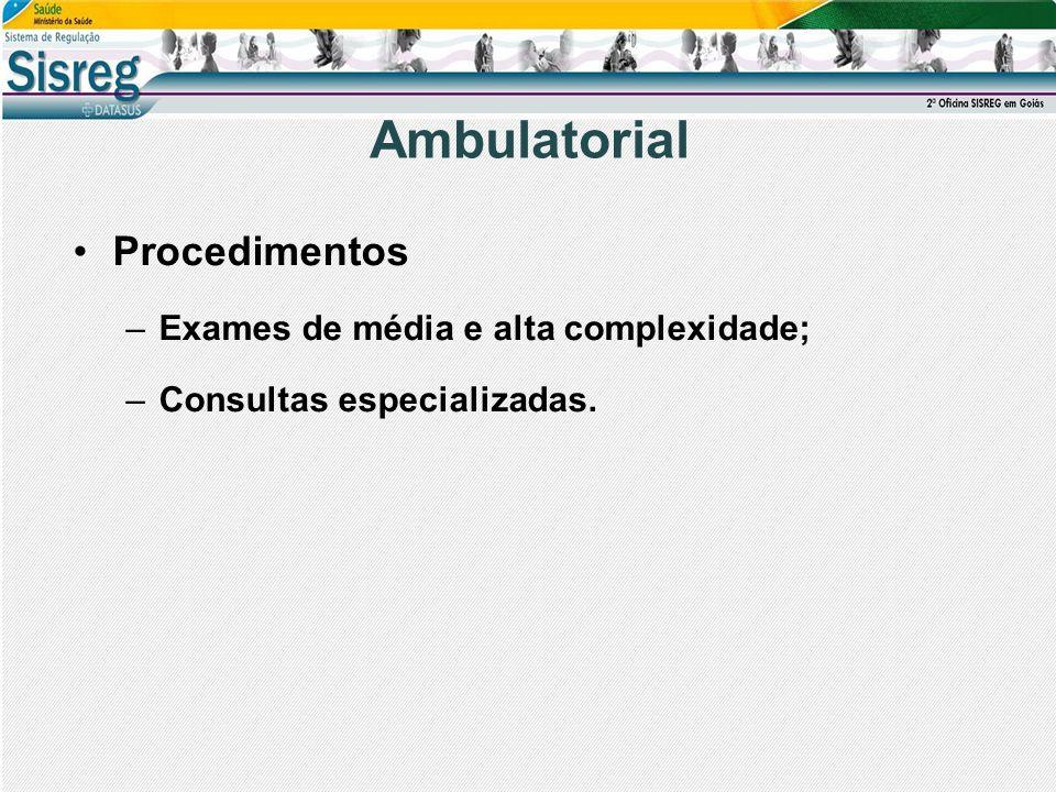 Ambulatorial Procedimentos –Exames de média e alta complexidade; –Consultas especializadas.
