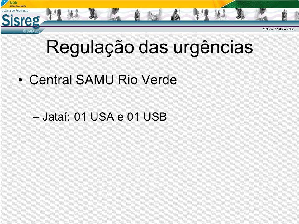 Regulação das urgências Central SAMU Rio Verde –Jataí: 01 USA e 01 USB