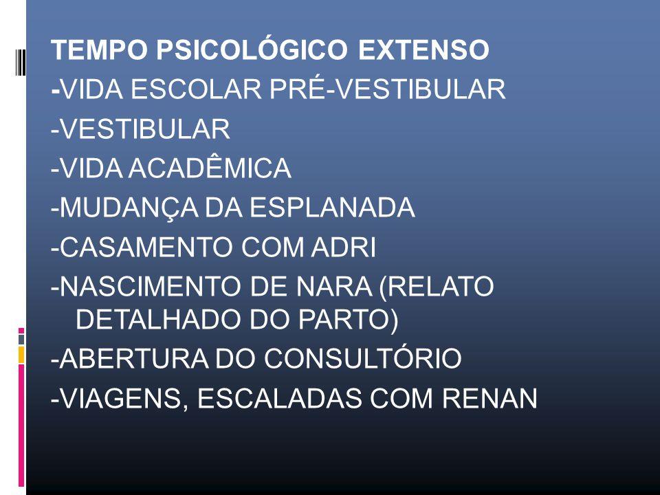 TEMPO PSICOLÓGICO EXTENSO -VIDA ESCOLAR PRÉ-VESTIBULAR -VESTIBULAR -VIDA ACADÊMICA -MUDANÇA DA ESPLANADA -CASAMENTO COM ADRI -NASCIMENTO DE NARA (RELATO DETALHADO DO PARTO) -ABERTURA DO CONSULTÓRIO -VIAGENS, ESCALADAS COM RENAN