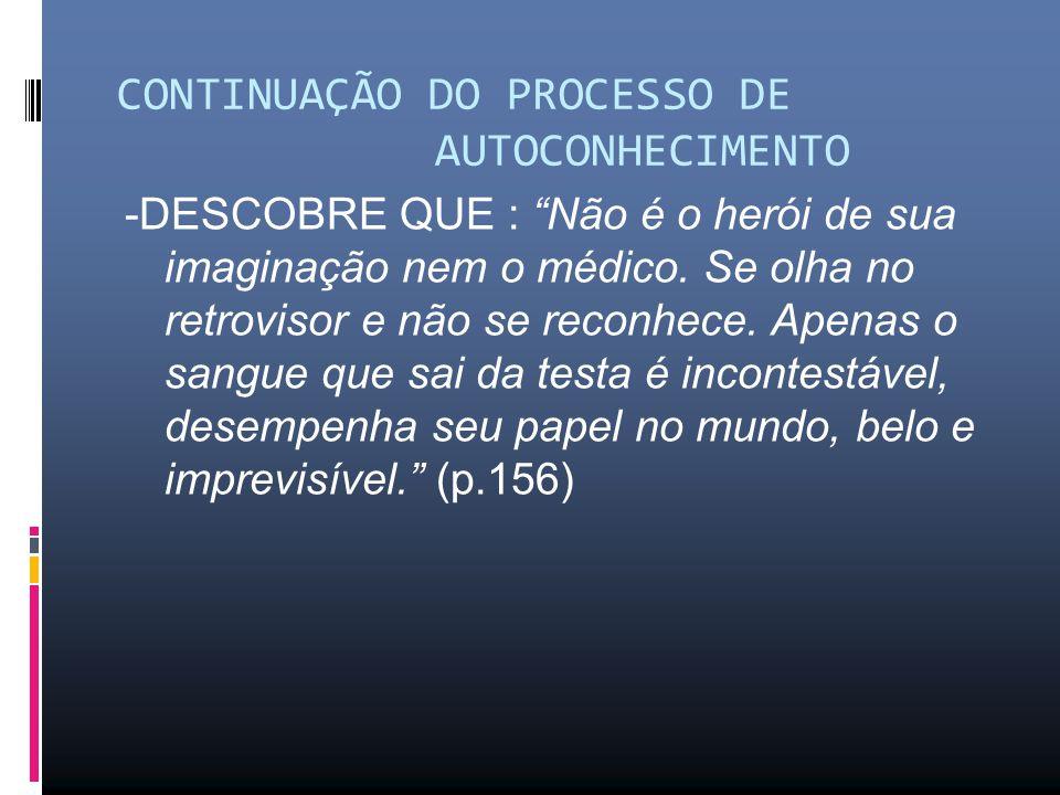 CONTINUAÇÃO DO PROCESSO DE AUTOCONHECIMENTO -DESCOBRE QUE : Não é o herói de sua imaginação nem o médico.
