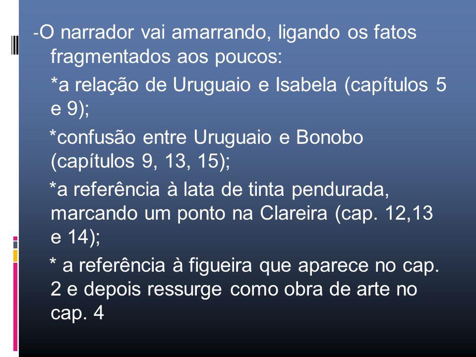 - O narrador vai amarrando, ligando os fatos fragmentados aos poucos: *a relação de Uruguaio e Isabela (capítulos 5 e 9); *confusão entre Uruguaio e Bonobo (capítulos 9, 13, 15); *a referência à lata de tinta pendurada, marcando um ponto na Clareira (cap.