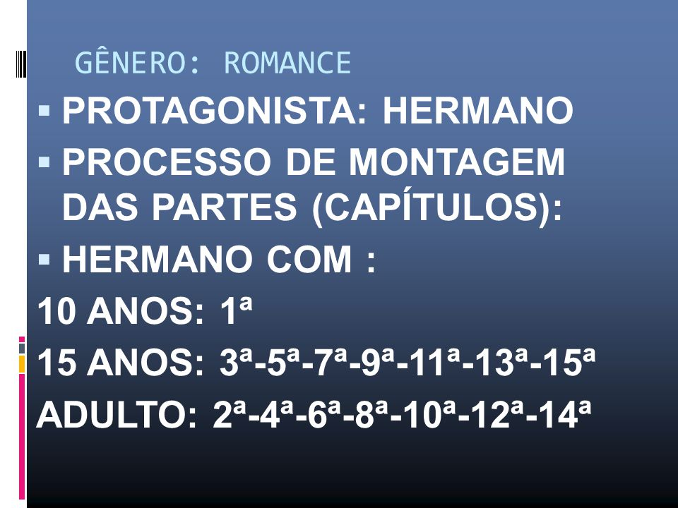 GÊNERO: ROMANCE PROTAGONISTA: HERMANO PROCESSO DE MONTAGEM DAS PARTES (CAPÍTULOS): HERMANO COM : 10 ANOS: 1ª 15 ANOS: 3ª-5ª-7ª-9ª-11ª-13ª-15ª ADULTO: 2ª-4ª-6ª-8ª-10ª-12ª-14ª