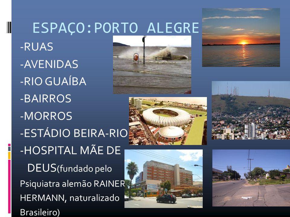 ESPAÇO:PORTO ALEGRE -RUAS -AVENIDAS -RIO GUAÍBA -BAIRROS -MORROS -ESTÁDIO BEIRA-RIO -HOSPITAL MÃE DE DEUS (fundado pelo Psiquiatra alemão RAINER HERMANN, naturalizado Brasileiro)