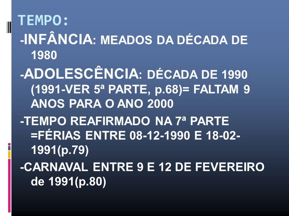 TEMPO: - INFÂNCIA : MEADOS DA DÉCADA DE 1980 - ADOLESCÊNCIA : DÉCADA DE 1990 (1991-VER 5ª PARTE, p.68)= FALTAM 9 ANOS PARA O ANO 2000 -TEMPO REAFIRMADO NA 7ª PARTE =FÉRIAS ENTRE 08-12-1990 E 18-02- 1991(p.79) -CARNAVAL ENTRE 9 E 12 DE FEVEREIRO de 1991(p.80)
