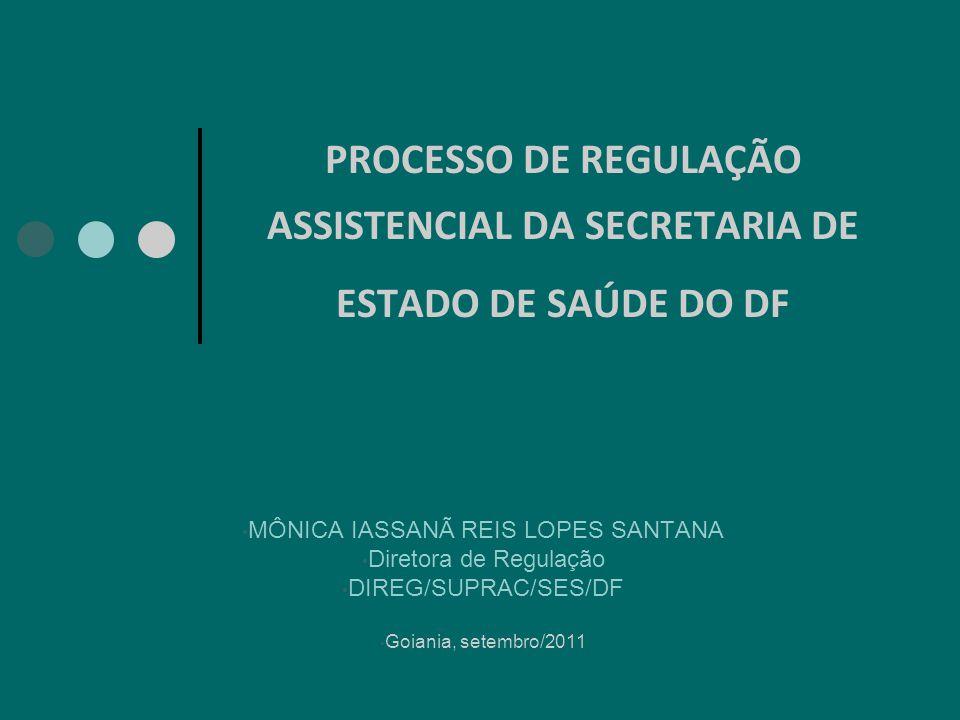 PROCESSO DE REGULAÇÃO ASSISTENCIAL DA SECRETARIA DE ESTADO DE SAÚDE DO DF MÔNICA IASSANÃ REIS LOPES SANTANA Diretora de Regulação DIREG/SUPRAC/SES/DF