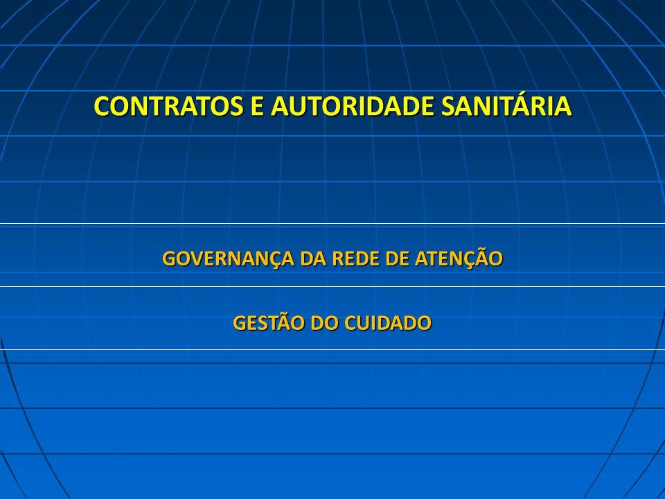 CONTRATOS E AUTORIDADE SANITÁRIA GOVERNANÇA DA REDE DE ATENÇÃO GESTÃO DO CUIDADO