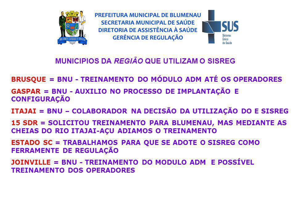 MUNICIPIOS DA REGIÃO QUE UTILIZAM O SISREG BRUSQUE = BNU - TREINAMENTO DO MÓDULO ADM ATÉ OS OPERADORES GASPAR = BNU - AUXILIO NO PROCESSO DE IMPLANTAÇÃO E CONFIGURAÇÃO ITAJAI = BNU – COLABORADOR NA DECISÃO DA UTILIZAÇÃO DO E SISREG 15 SDR = SOLICITOU TREINAMENTO PARA BLUMENAU, MAS MEDIANTE AS CHEIAS DO RIO ITAJAI-AÇU ADIAMOS O TREINAMENTO ESTADO SC = TRABALHAMOS PARA QUE SE ADOTE O SISREG COMO FERRAMENTE DE REGULAÇÃO JOINVILLE = BNU - TREINAMENTO DO MODULO ADM E POSSÍVEL TREINAMENTO DOS OPERADORES