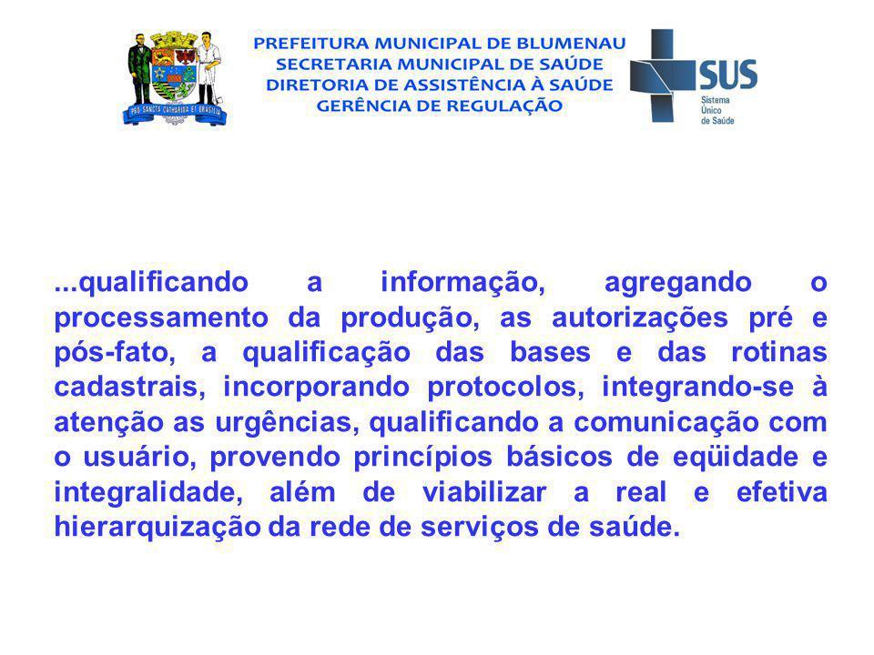 CARACTERIZAÇÃO BÁSICA DO MUNICÍPIO Blumenau assumiu a gestão plena mediante portaria GM/MS 3.260, de 28.07.1998, e é sede regional para o Vale do Itajaí, abrangendo 57 municípios.