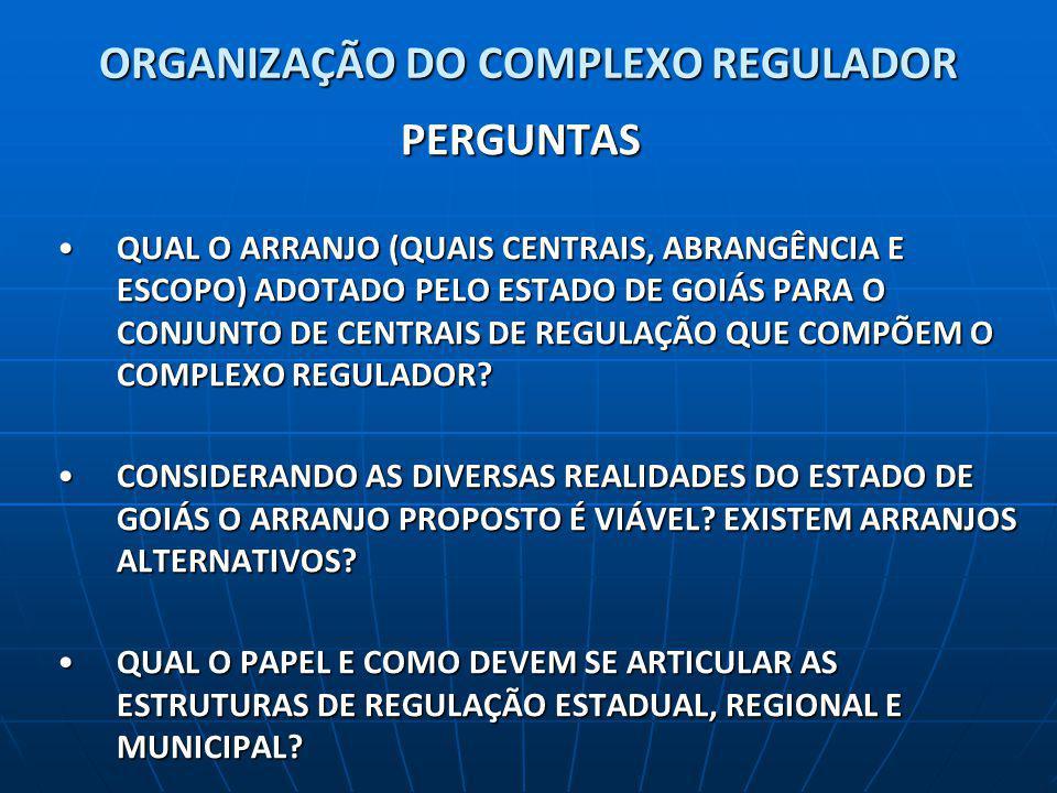 ORGANIZAÇÃO DO COMPLEXO REGULADOR PERGUNTAS QUAL O ARRANJO (QUAIS CENTRAIS, ABRANGÊNCIA E ESCOPO) ADOTADO PELO ESTADO DE GOIÁS PARA O CONJUNTO DE CENTRAIS DE REGULAÇÃO QUE COMPÕEM O COMPLEXO REGULADOR?QUAL O ARRANJO (QUAIS CENTRAIS, ABRANGÊNCIA E ESCOPO) ADOTADO PELO ESTADO DE GOIÁS PARA O CONJUNTO DE CENTRAIS DE REGULAÇÃO QUE COMPÕEM O COMPLEXO REGULADOR.