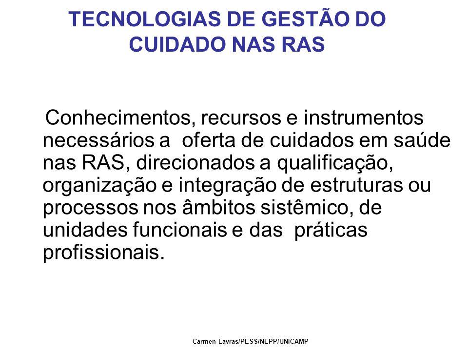 TECNOLOGIAS DE GESTÃO DO CUIDADO NAS RAS Conhecimentos, recursos e instrumentos necessários a oferta de cuidados em saúde nas RAS, direcionados a qual