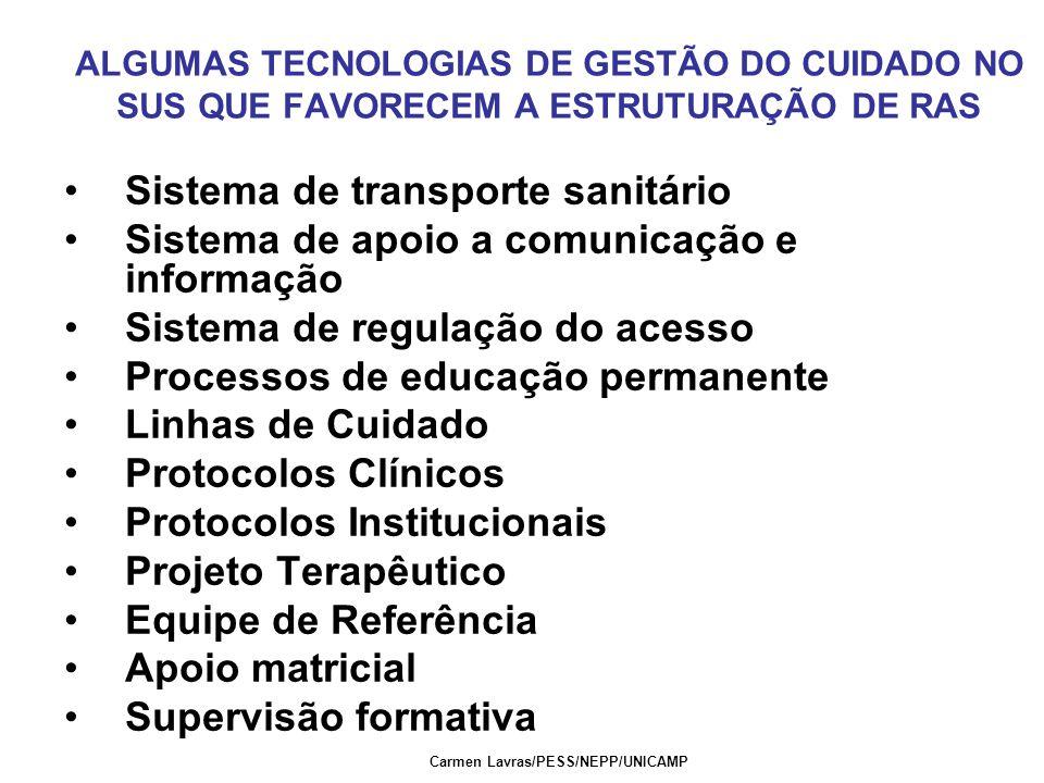 Carmen Lavras/PESS/NEPP/UNICAMP ALGUMAS TECNOLOGIAS DE GESTÃO DO CUIDADO NO SUS QUE FAVORECEM A ESTRUTURAÇÃO DE RAS Sistema de transporte sanitário Si