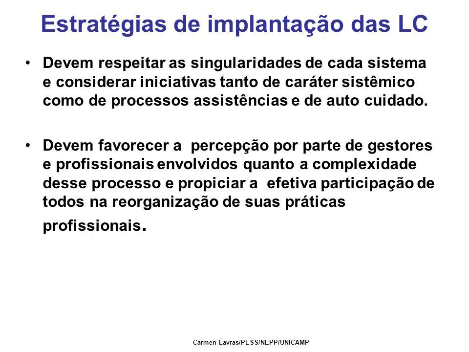 Carmen Lavras/PESS/NEPP/UNICAMP Estratégias de implantação das LC Devem respeitar as singularidades de cada sistema e considerar iniciativas tanto de caráter sistêmico como de processos assistências e de auto cuidado.