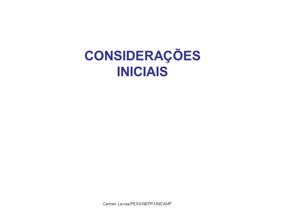 CONSIDERAÇÕES INICIAIS Carmen Lavras/PESS/NEPP/UNICAMP