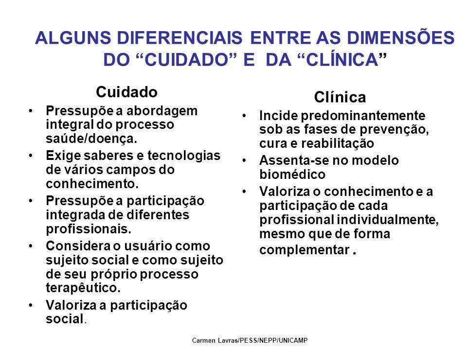 ALGUNS DIFERENCIAIS ENTRE AS DIMENSÕES DO CUIDADO E DA CLÍNICA Cuidado Pressupõe a abordagem integral do processo saúde/doença.