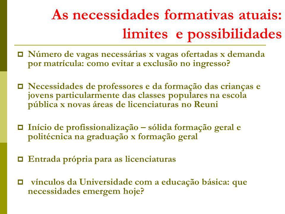 As necessidades formativas atuais: limites e possibilidades Número de vagas necessárias x vagas ofertadas x demanda por matrícula: como evitar a exclusão no ingresso.