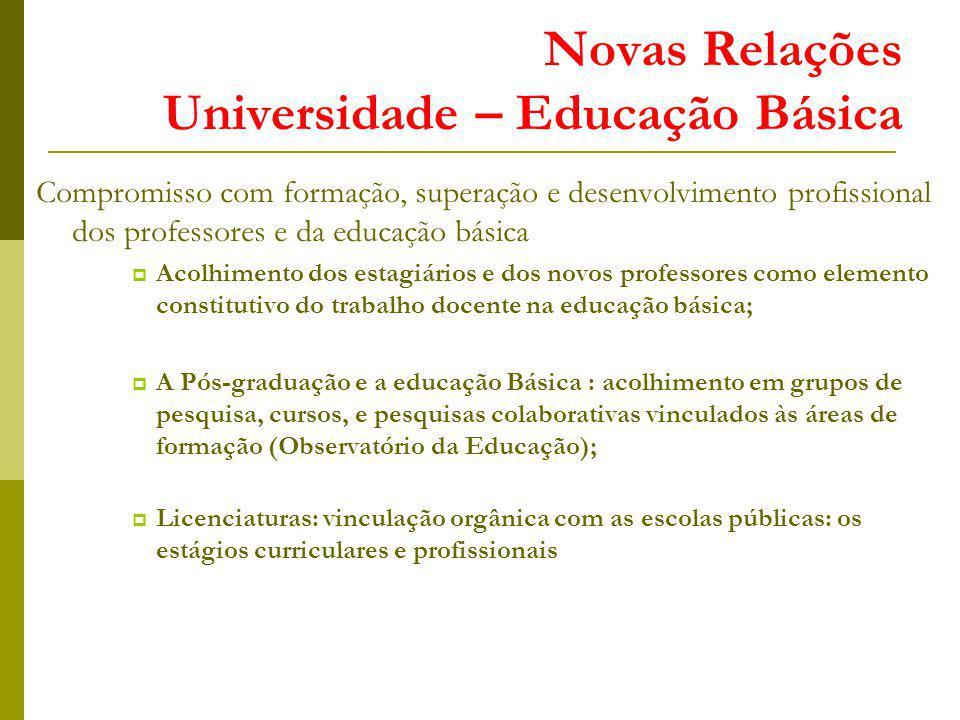 Novas Relações Universidade – Educação Básica Compromisso com formação, superação e desenvolvimento profissional dos professores e da educação básica