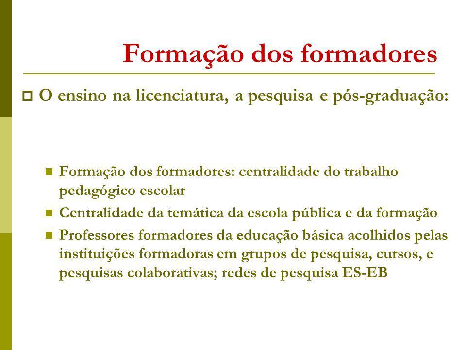 Formação dos formadores O ensino na licenciatura, a pesquisa e pós-graduação: Formação dos formadores: centralidade do trabalho pedagógico escolar Cen
