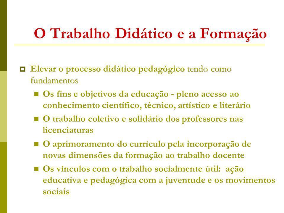 O Trabalho Didático e a Formação tendo como fundamentos Elevar o processo didático pedagógico tendo como fundamentos Os fins e objetivos da educação -
