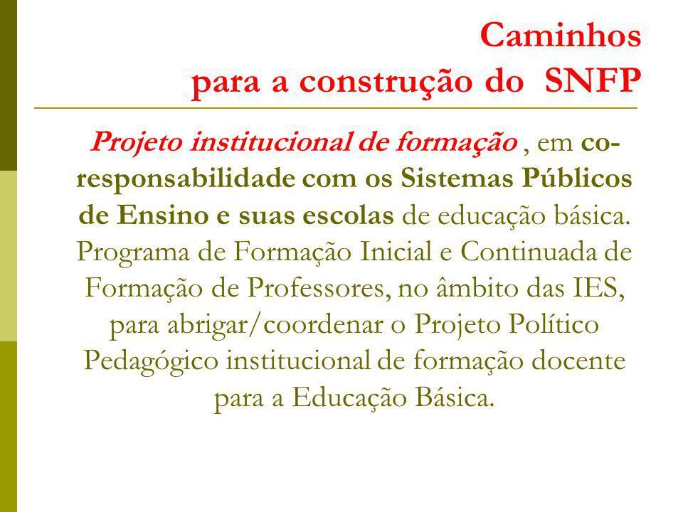 Caminhos para a construção do SNFP Projeto institucional de formação, em co- responsabilidade com os Sistemas Públicos de Ensino e suas escolas de educação básica.