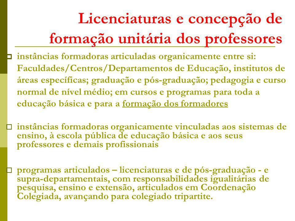 Licenciaturas e concepção de formação unitária dos professores instâncias formadoras articuladas organicamente entre si: Faculdades/Centros/Departamen
