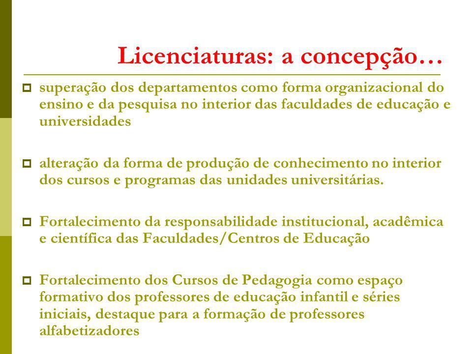 Licenciaturas: a concepção… superação dos departamentos como forma organizacional do ensino e da pesquisa no interior das faculdades de educação e uni