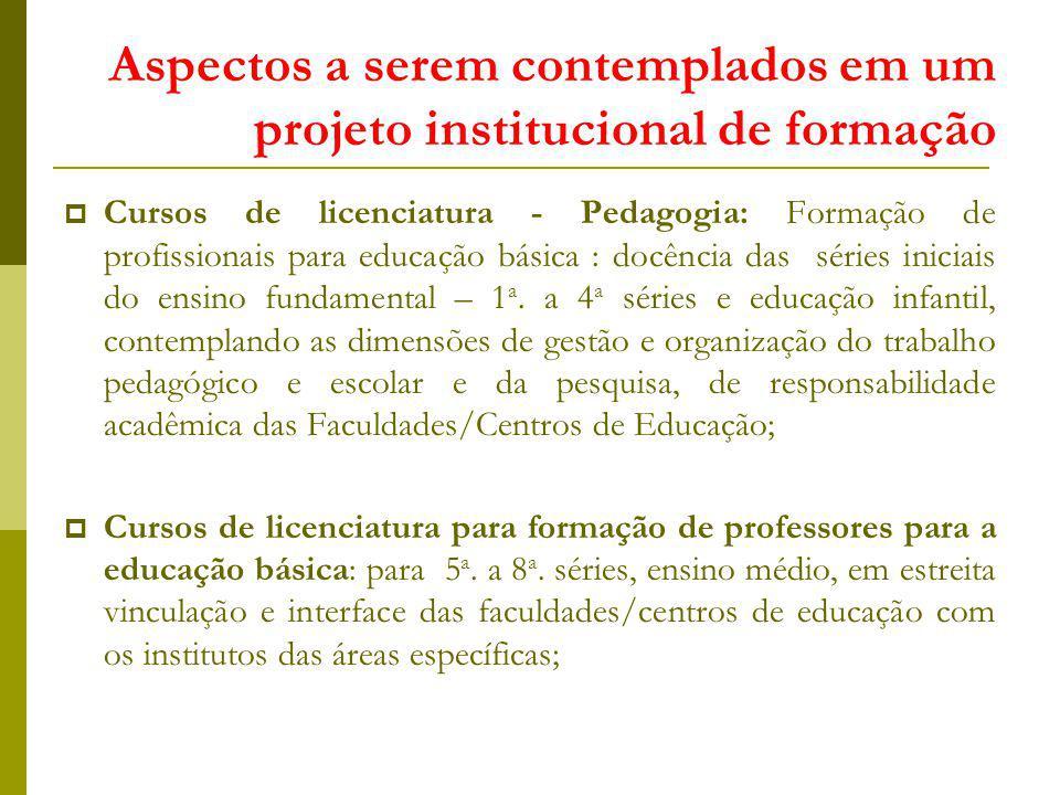 Aspectos a serem contemplados em um projeto institucional de formação Cursos de licenciatura - Pedagogia: Formação de profissionais para educação bási
