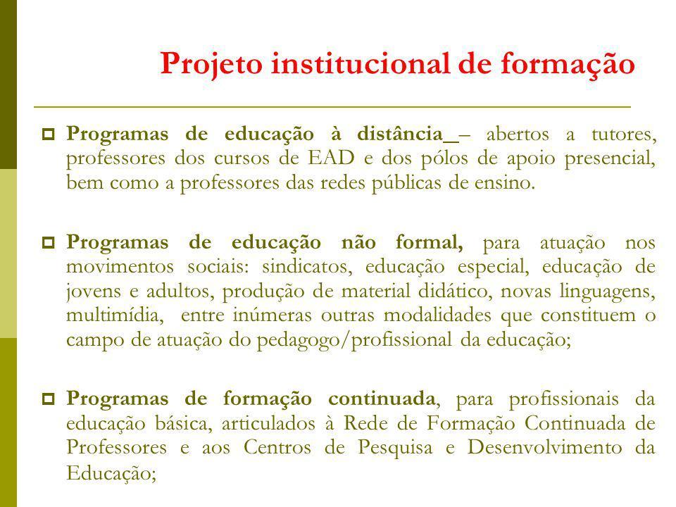 Programas de educação à distância – abertos a tutores, professores dos cursos de EAD e dos pólos de apoio presencial, bem como a professores das redes públicas de ensino.