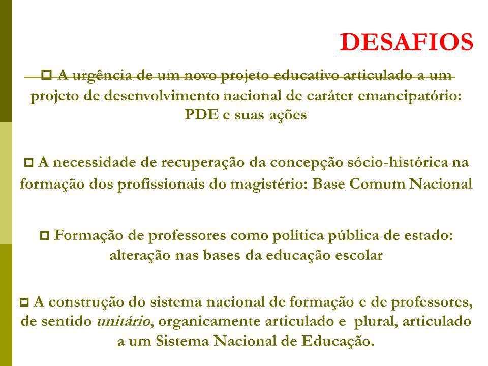 DESAFIOS A urgência de um novo projeto educativo articulado a um projeto de desenvolvimento nacional de caráter emancipatório: PDE e suas ações A nece