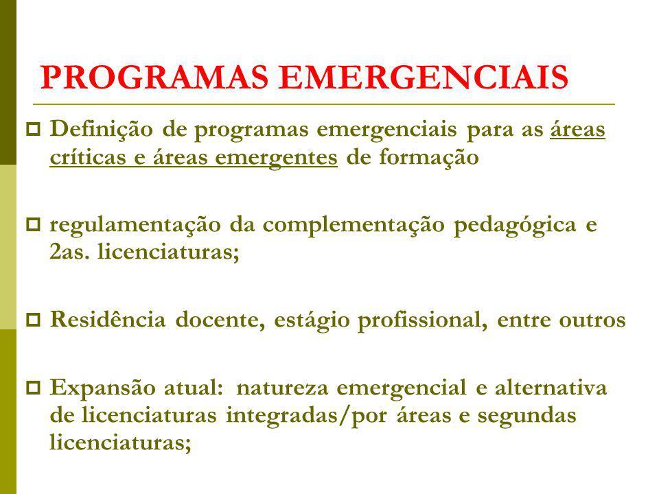 PROGRAMAS EMERGENCIAIS Definição de programas emergenciais para as áreas críticas e áreas emergentes de formação regulamentação da complementação pedagógica e 2as.