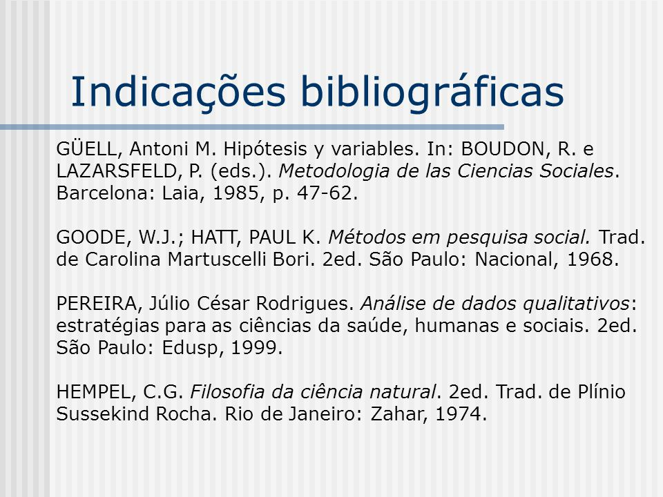 Indicações bibliográficas GÜELL, Antoni M. Hipótesis y variables.
