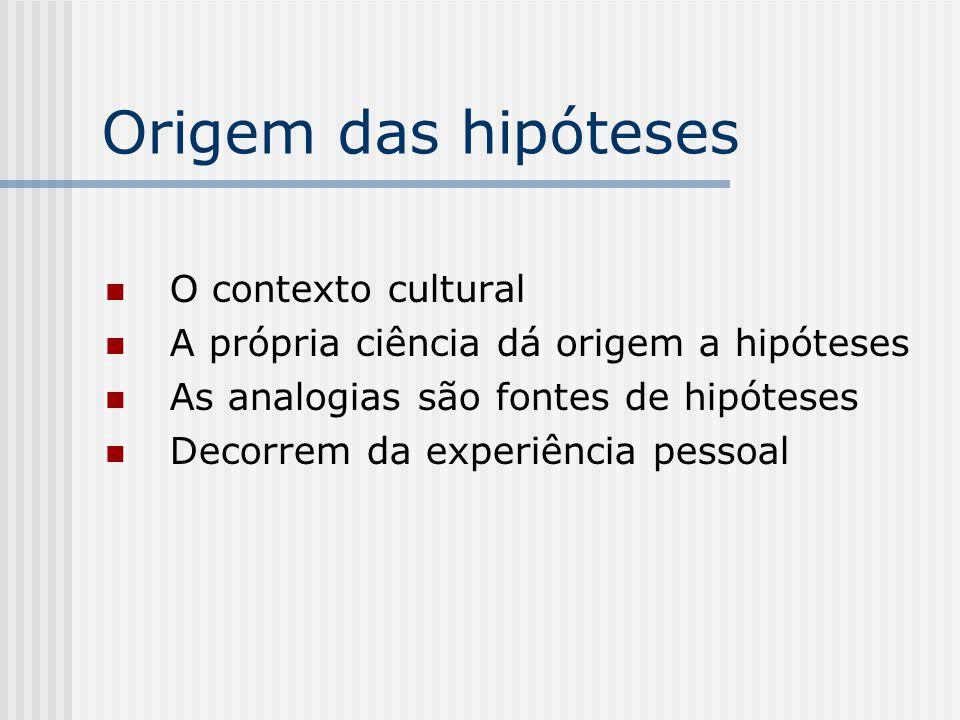 Origem das hipóteses O contexto cultural A própria ciência dá origem a hipóteses As analogias são fontes de hipóteses Decorrem da experiência pessoal