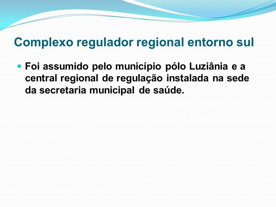 Complexo regulador regional entorno sul Foi assumido pelo município pólo Luziânia e a central regional de regulação instalada na sede da secretaria mu