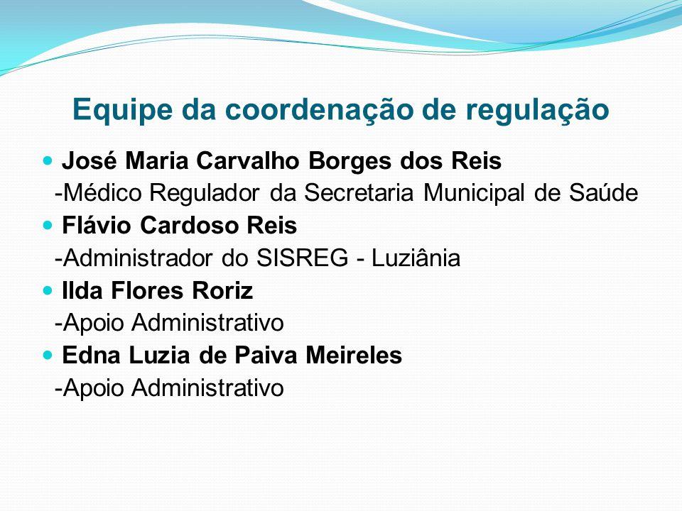Equipe da coordenação de regulação José Maria Carvalho Borges dos Reis -Médico Regulador da Secretaria Municipal de Saúde Flávio Cardoso Reis -Adminis