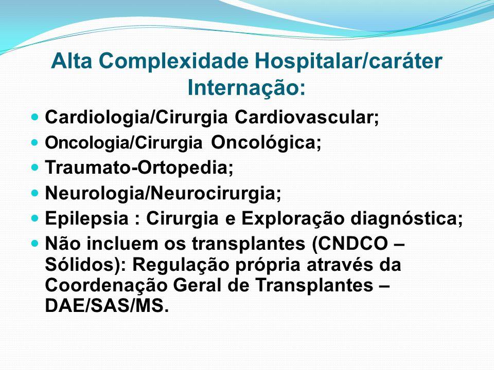 Alta Complexidade Hospitalar/caráter Internação: Cardiologia/Cirurgia Cardiovascular; Oncologia/Cirurgia Oncológica; Traumato-Ortopedia; Neurologia/Ne