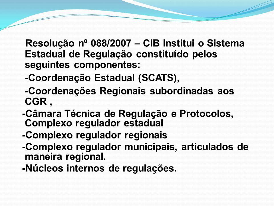 Resolução nº 088/2007 – CIB Institui o Sistema Estadual de Regulação constituído pelos seguintes componentes: -Coordenação Estadual (SCATS), -Coordena