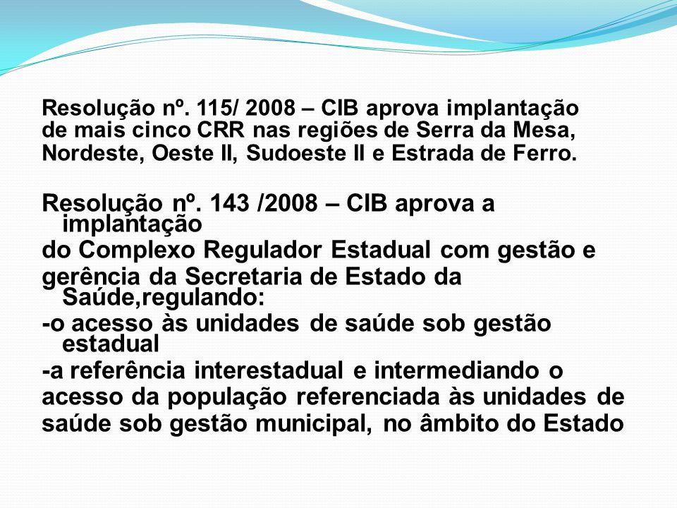 Resolução nº. 115/ 2008 – CIB aprova implantação de mais cinco CRR nas regiões de Serra da Mesa, Nordeste, Oeste II, Sudoeste II e Estrada de Ferro. R