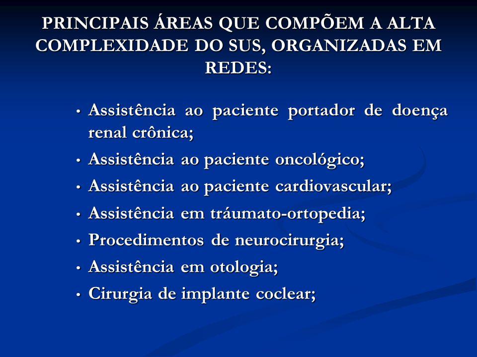 PRINCIPAIS ÁREAS QUE COMPÕEM A ALTA COMPLEXIDADE DO SUS, ORGANIZADAS EM REDES: Assistência ao paciente portador de doença renal crônica; Assistência ao paciente portador de doença renal crônica; Assistência ao paciente oncológico; Assistência ao paciente oncológico; Assistência ao paciente cardiovascular; Assistência ao paciente cardiovascular; Assistência em tráumato-ortopedia; Assistência em tráumato-ortopedia; Procedimentos de neurocirurgia; Procedimentos de neurocirurgia; Assistência em otologia; Assistência em otologia; Cirurgia de implante coclear; Cirurgia de implante coclear;