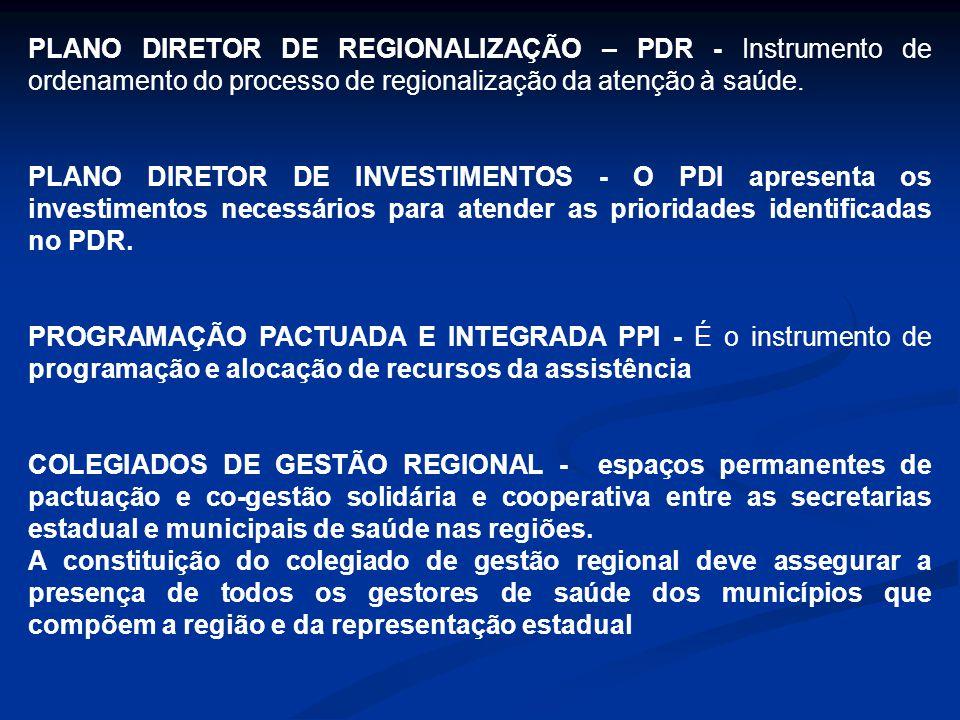 PLANO DIRETOR DE REGIONALIZAÇÃO – PDR - Instrumento de ordenamento do processo de regionalização da atenção à saúde.
