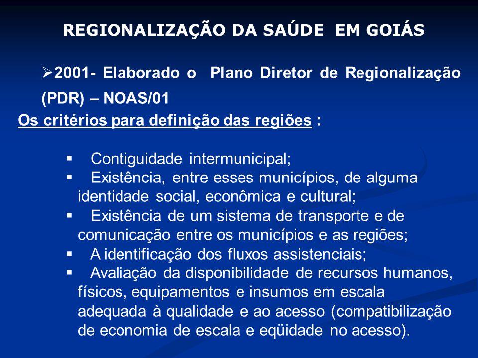 2001- Elaborado o Plano Diretor de Regionalização (PDR) – NOAS/01 Os critérios para definição das regiões : Contiguidade intermunicipal; Existência, entre esses municípios, de alguma identidade social, econômica e cultural; Existência de um sistema de transporte e de comunicação entre os municípios e as regiões; A identificação dos fluxos assistenciais; Avaliação da disponibilidade de recursos humanos, físicos, equipamentos e insumos em escala adequada à qualidade e ao acesso (compatibilização de economia de escala e eqüidade no acesso).