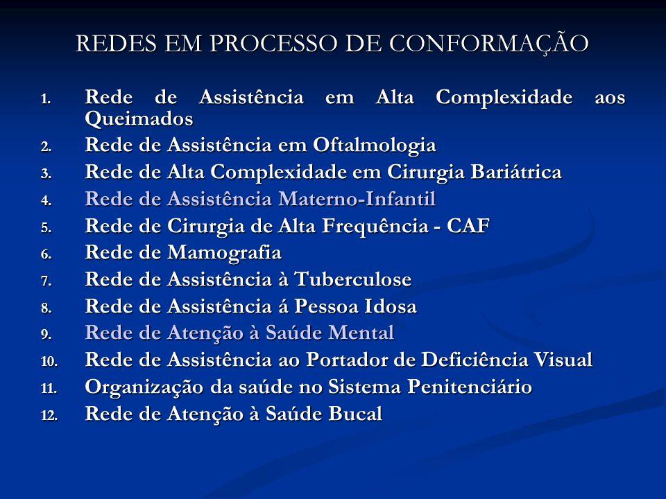 REDES EM PROCESSO DE CONFORMAÇÃO 1. Rede de Assistência em Alta Complexidade aos Queimados 2.